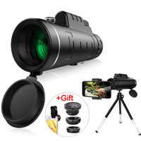 Lente teleobjetivo con Zoom de 40X lente de cámara de teléfono telescopio HD Monocular para iPhone Xs XR Samsung + lente Macro 3In1 con ángulo de ojo de pez ancho