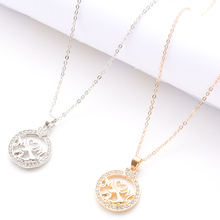 Popular Sweet Romantic Round Small Pendant Necklace Gold Silver Elegant Female Jewelry Gift Mother's Day Necklace Jewelry sweet romantic that s ok major suit moon stars pendeloque cut necklace 114swr xiangl silver 925 jewelry christmas gift boho