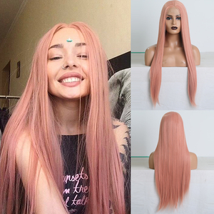 Charisma Long Straight Hair Pink Wigs Natural Hairline Synthetic Lace Front Wig Cosplay Wigs for Women Heat Resistant Lace Wig