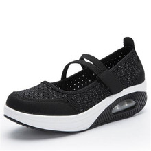 New summer mesh shoes thick bottom platform shallow mouth old air cushion womens rocking 35-42 yards