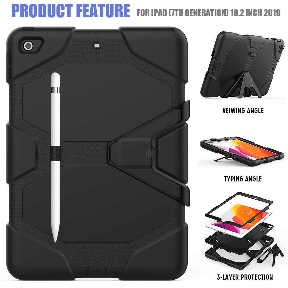 iPad 10.2 Heavy Kids Case PC Shockproof For Armor Silicone Duty Kickstand Case Rugged
