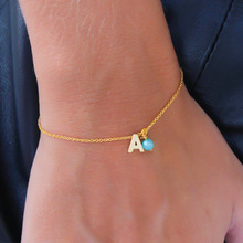 New Spring Alloy Simple Letter Bracelet Cute Fashion Beads Pendant Chain Charm Bracelets for Women