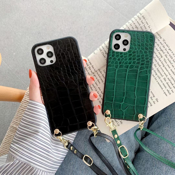 Luksusowy naszyjnik łańcuch etui na telefony dla iphone 12 Pro Max 7 8 Plus 11 X XS XR SE MiNi 6 6S smycz pasek na szyję przewód krokodyl okładka tanie i dobre opinie APPLE CN (pochodzenie) Częściowo przysłonięte etui Zwykły Silicone leather Plain Animal snakeskin pattern Non-slip Marble Acrylic color bracelet