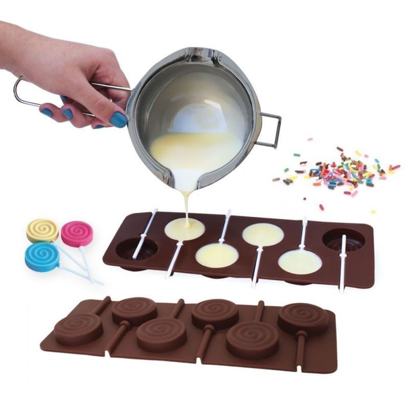 1PCS Silicone Lollipop Mold 9 Kinds Chocolate Cake Fondant Cookie Mould Jelly Pudding Molds DIY Baking Cake Decorating Tools