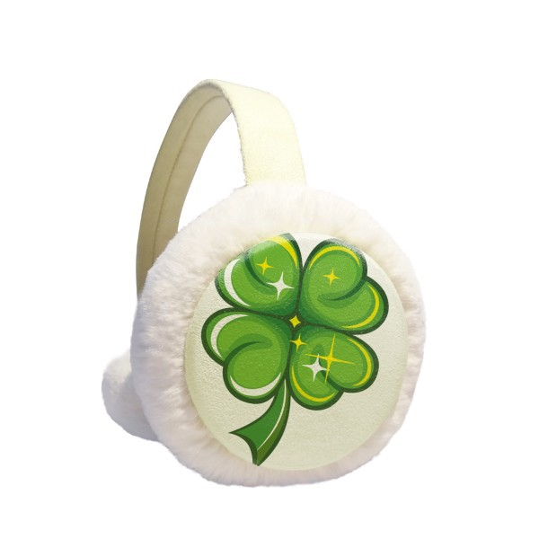 Four Leaf Clover Ireland St.Patrick's Day Winter Earmuffs Ear Warmers Faux Fur Foldable Plush Outdoor Gift