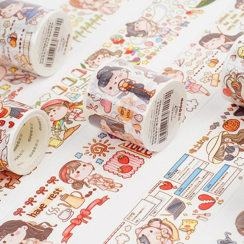 JIANWU 5 Styles Fresh Cute Young Girl Cartoon Masking Tapes Diy Scrapbooking Sticker Bullet Journal Supplies