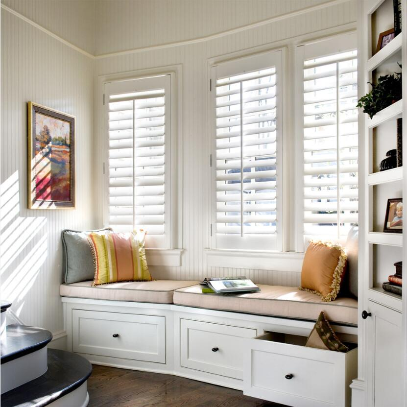 Custom Basswood Plantation Shutters Wooden Blinds Solid Wood Shutter Louvers PS261