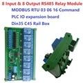 12 В постоянного тока 24 В 8I8O Многофункциональный релейный модуль Modbus RTU поддержка 03 06 16 функционального кода RS485 плата управления переключате...
