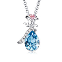 цена на Women Gold Necklace Pendant Embellished with crystals Pink Blue Sexy Flower Set Elegant Statement