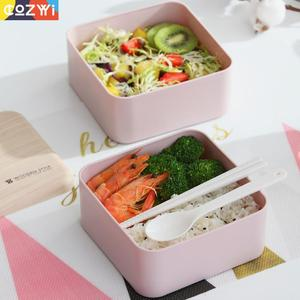 Image 4 - Plastic Lunch box On the Go Packing Lunchbox With Spoon Chopsticks Double Layer Portable Bento Box Food Container