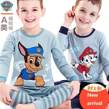 Pyjama de pat patrouille pour enfants   Pyjama confortable en coton pur, pour anniversaire de garçons, en pur coton, à motif de dessin animé 95%