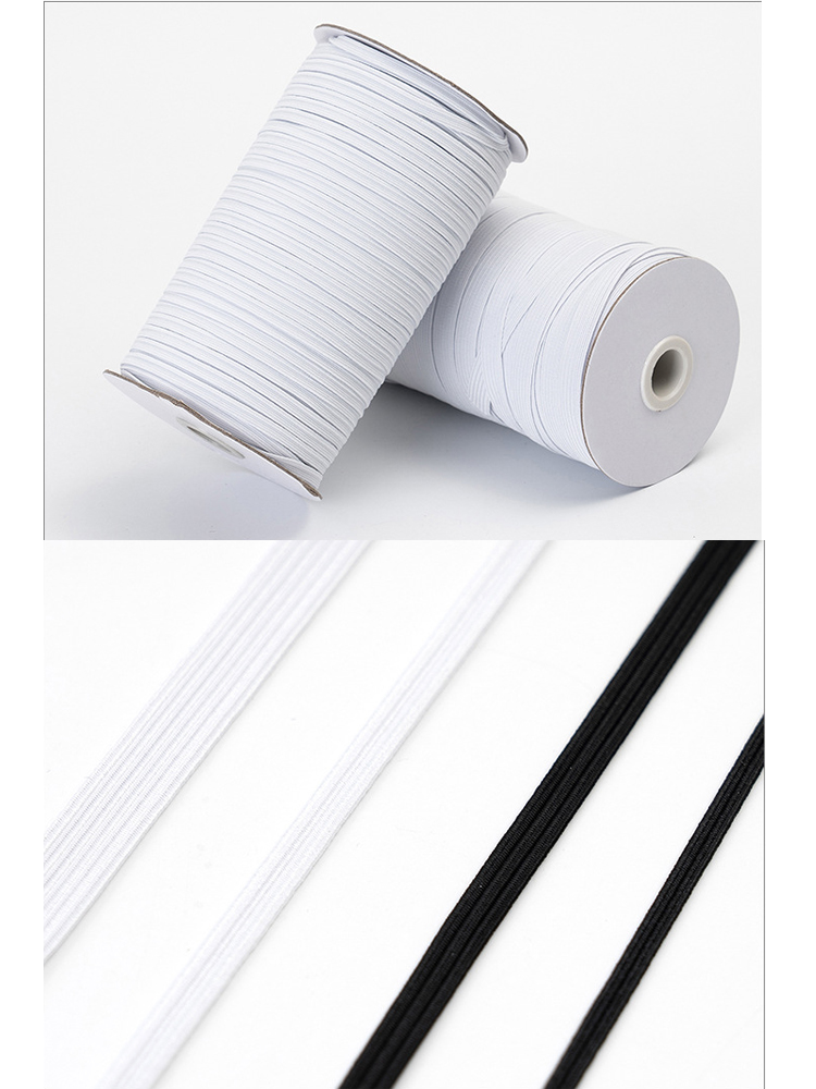 Elastic Bands White And Black 5 Meters 3/5/7/9mm Polyester Elastic Bands For Clothes Garment Sewing Accessories Mask Tape