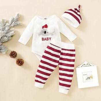 Baby's Sets Romper Bodysuit Pants Hat Boys Girls Cotton Cute Koala Print Long Sleeve Striped Trousers Cap Cute