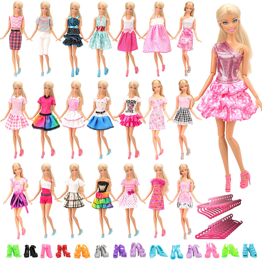 Thời trang 60 Món/Bộ Phụ Kiện Búp Bê = 20 Búp Bê Áo Ngẫu Nhiên + 20 + 20  Móc Treo Quần Áo búp bê Barbie Món Quà Sinh Nhật Nhất Cô Gái|