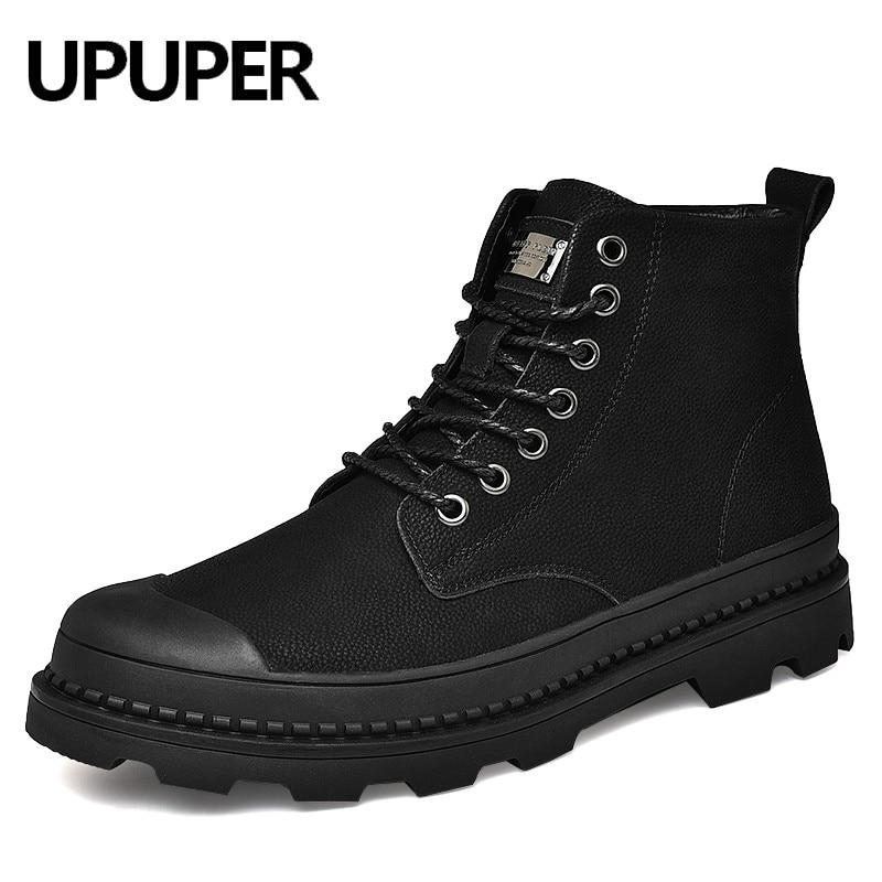 UPUPER Black Winter Men Boots Genuine Leather Ankle Boots Men Winter Shoes Men Fur Snow Military Boots For Men Botas