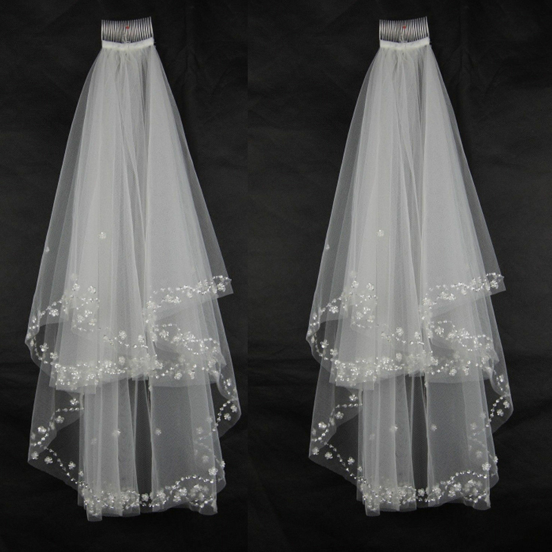 Crystal Beaded New 2T Bridal Veils Elbow Pearl Sequins Wedding Veil With Comb
