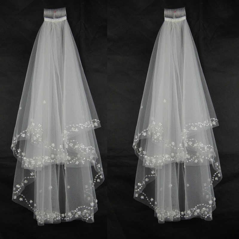 Kristal boncuklu yeni 2T gelin Veils dirsek inci sequins düğün duvağı tarak ile