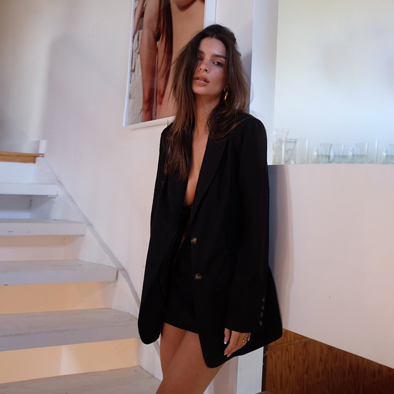 Autumn Blazer Women Mini Skirt Set Elegant Notched Single Breasted Slim Jacket Office Lady Button Long Sleeve Suit Coat Set-1