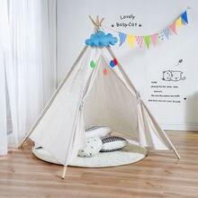 Палатка-вигвам детская из хлопка и холста, большая игровая палатка для девочек, дом для игр в вигвам, треугольная палатка из Индии, декор для ...