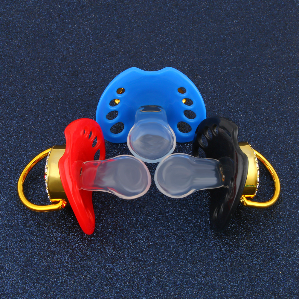 2019 New Style Crown Bling Adults Pacifier Adult Sized Gem Pacifier Dummy ABDL Silicone Nipple Pacifier
