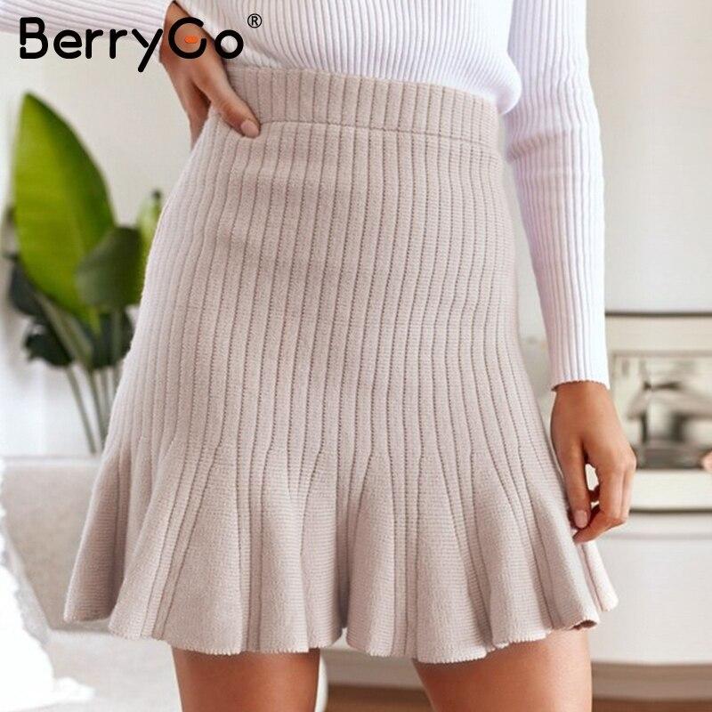 BerryGo A-line High Waist Women Mini Knitted Skirt Casual Party Ladies Mermaid Skirt Autumn Winter Female Ruffled Short Skirt