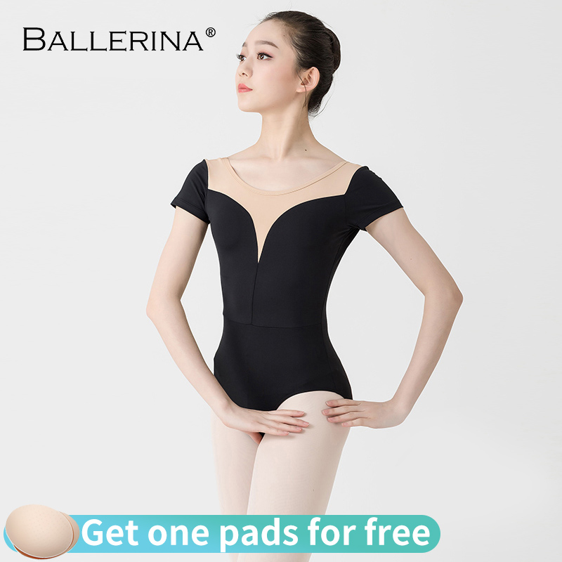 Women Ballet Short Sleeve Leotard Practice Dance Costume Aerialist Yoga Girls Gymnastics Leotards 3513
