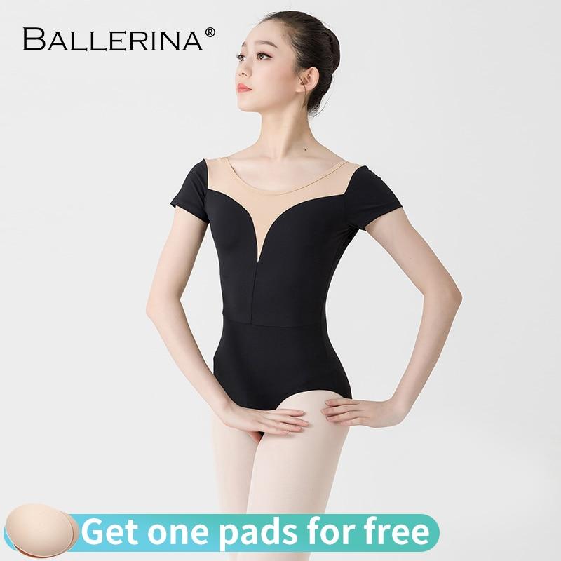 Women Ballet short sleeve leotard Practice Dance Costume aerialist yoga girls gymnastics Leotards 3513