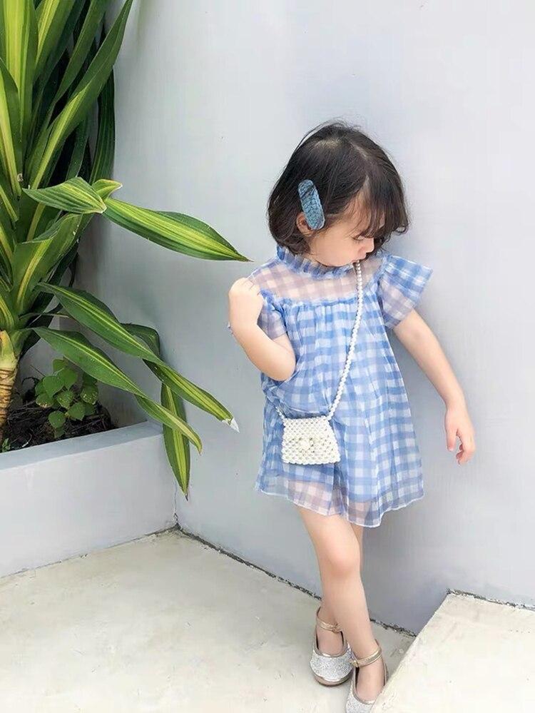 Платье для маленьких девочек летнее милое платье в клетку для дня рождения кружевное платье феи в стиле пэчворк милое платье для маленьких девочекСочетающаяся одежда для семьи   -