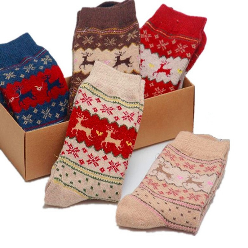 New Autumn Winter Women Socks Hot Sale Warm Print Animal Rabbit Woolen Socks High Tube Soft Christmas Deer Pattern Socks Hosiery