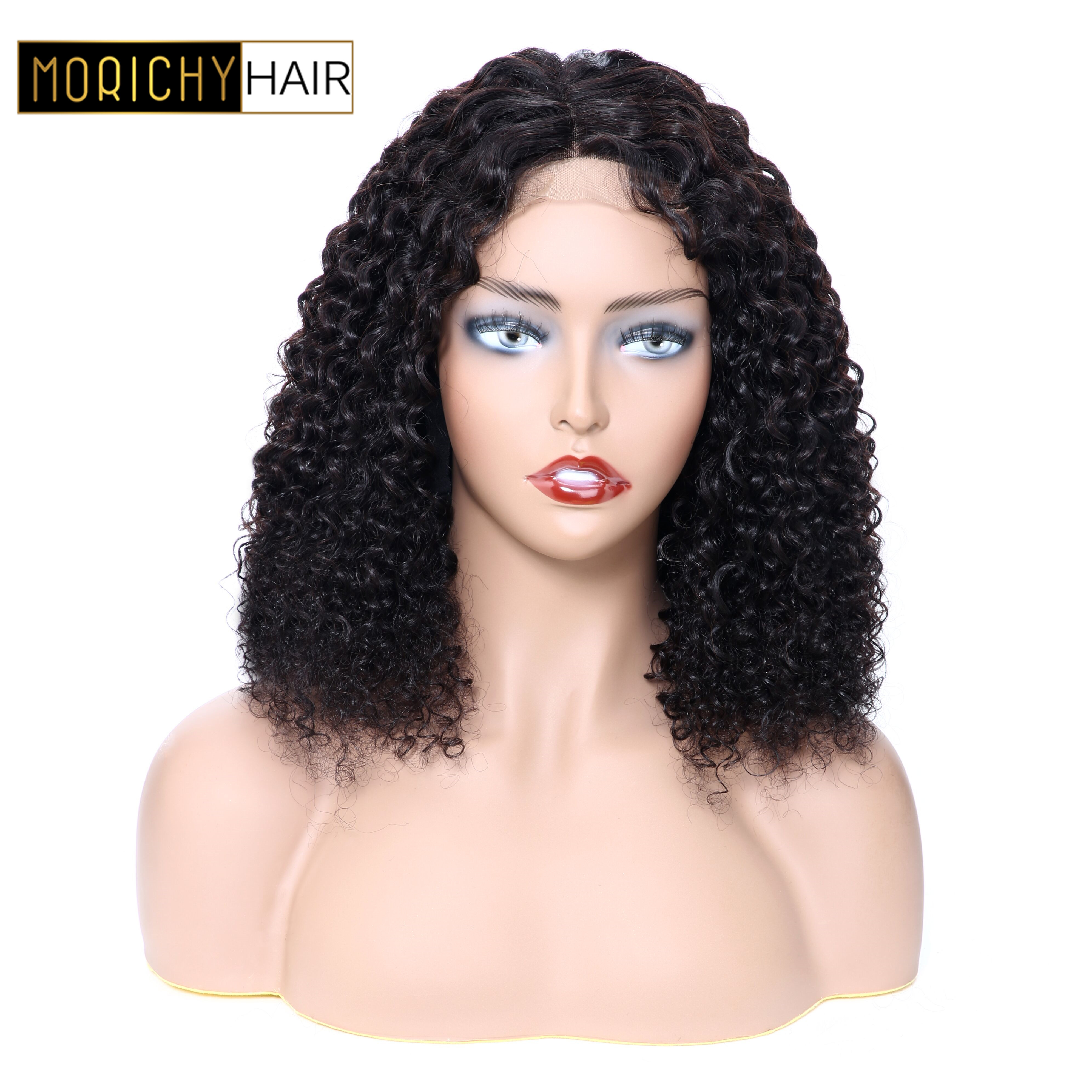 Morichy Curly 4x4 Lace Closure Human Hair Wigs Brazilian M Non-Remy Short Bob Wigs Pre Plucked Hairline 150% Density