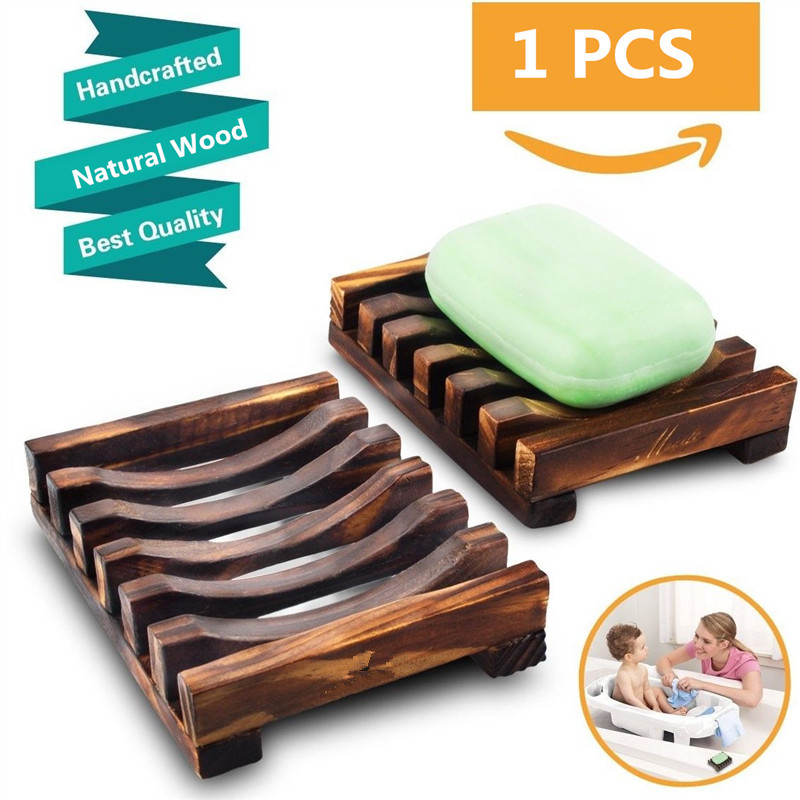 Faroot Portable Non-slip Carbonization Bamboo Wooden Soap Dish Shower Case Holder Container Storage Bathroom Kitchen Soap Holder