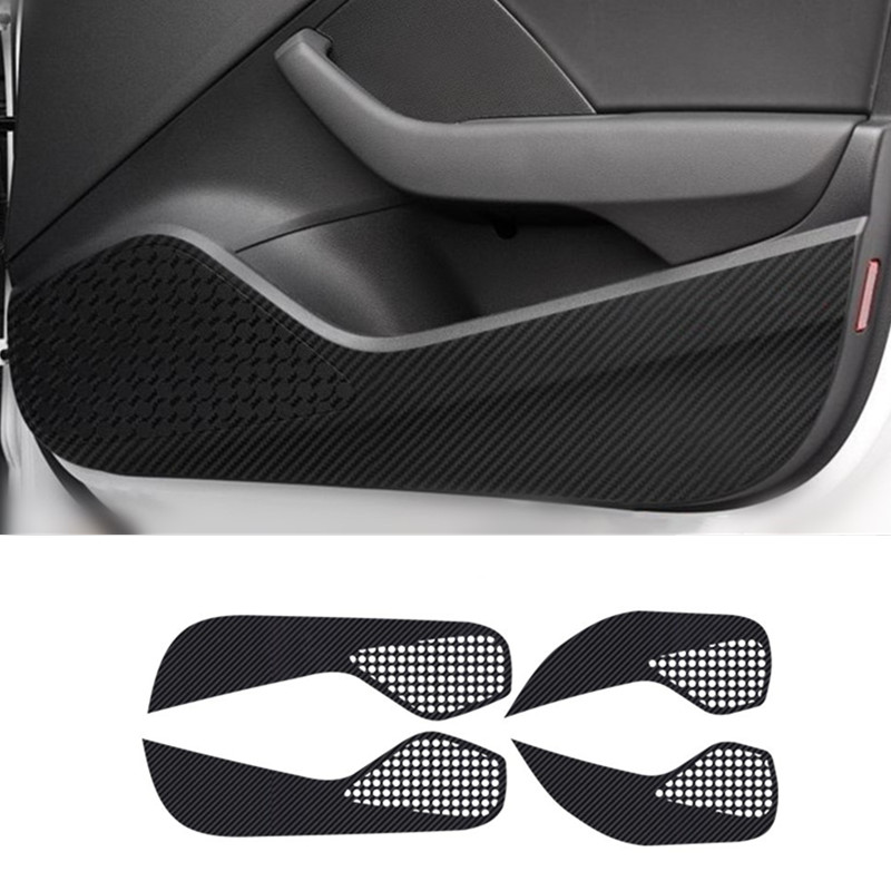 Car Door Anti Kick Pad Protection Decals For Audi A3 Q3 Q5 Q7 Carbon Fiber Stickers Auto Interior Accessories image