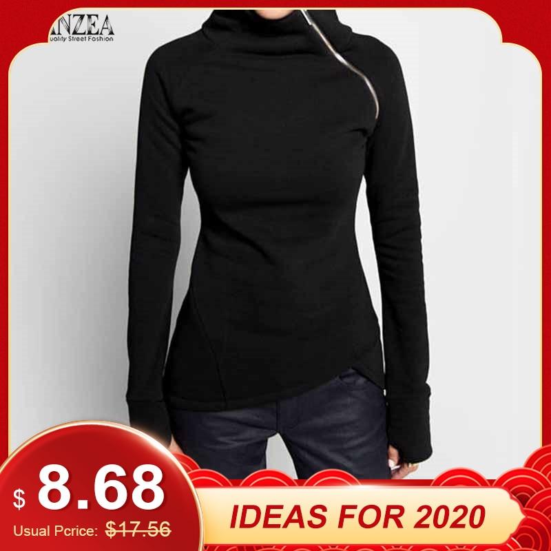 ZANZEA  Autumn Hoodies Sweatshirts 2019 Women Casual Solid Long Sleeve Pullover Turtleneck Slim Fit Zippers Sweatshirt Plus Size