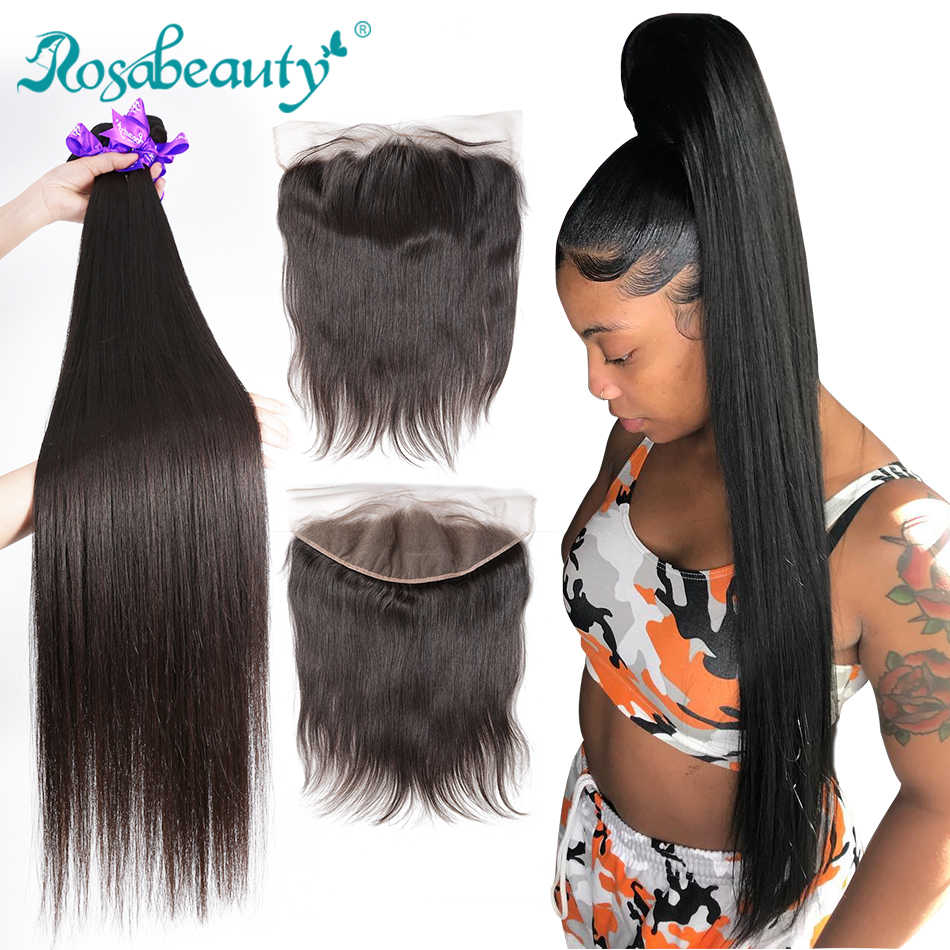 Rosabeauty Straight Bundles With Lace Frontal Brazilian Human Hair Bundles With Closure Frontal 28 30 inch Remy Hair Extensions
