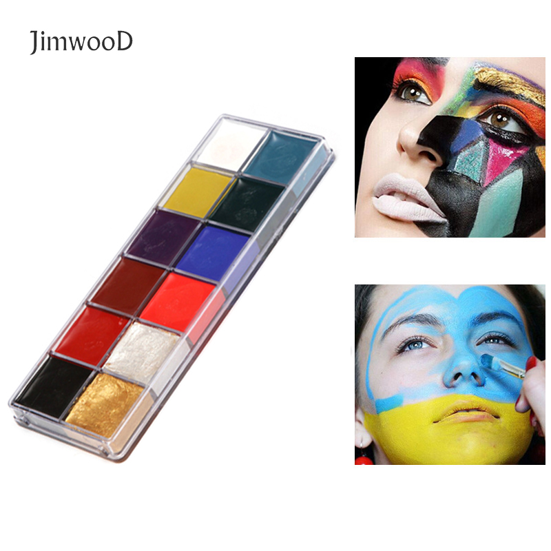 12Colors Face Body Art Painting Watercolor Paint Oil Painting Tattoo Makeup Cosmetic Bodypainting Halloween Party CFA036