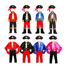 Pirates Costume Childrens Day Kids Boys Pirate Halloween Cosplay Set Birthday Party Cloak Outfit Pirate Christmas Theme