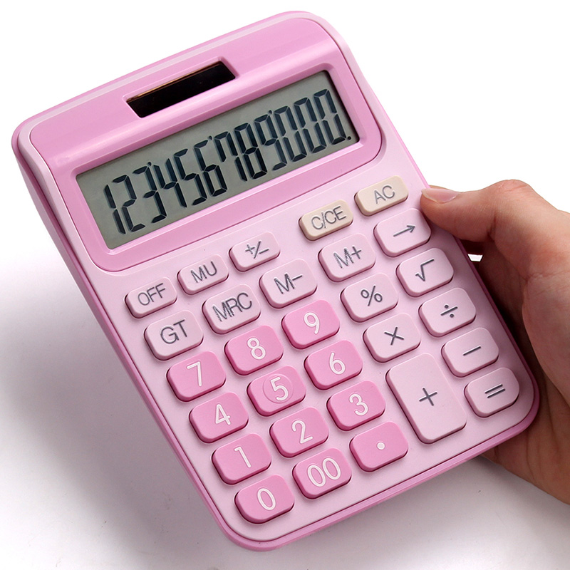 With voice calculator cute Korean candy color little fresh calculator computer big keys financial accounting special girl pink image
