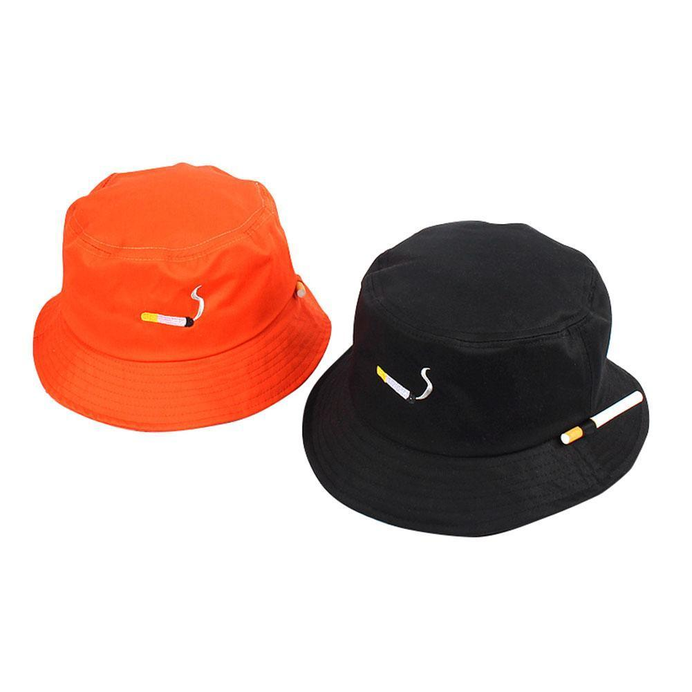 2020 New Fashion Cigarette Embroidery Printing Fisherman Bucket Hat Men Hip Protection Hop Sun And Hat Uv Hat Women I8W4
