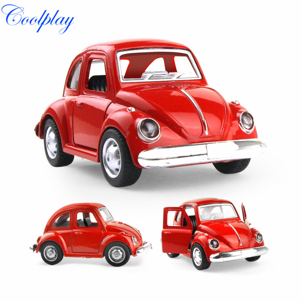 Mini Cute Die-cast Alloy Car Toy Vintage Vehicle Model Pull Back Sliding Car & Music & Light & Opened Door Toy Gift For Boy Kids