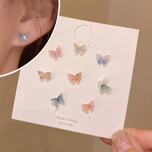 Three Dimensional Bow Earrings for Women Small and Simple Design Anti Allergy Colorful Earrings