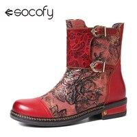 SOCOFY rétro en relief Rose en cuir véritable couture colorée plat fermeture éclair bottes courtes chaussures élégantes femmes chaussures Botas Mujer 2020