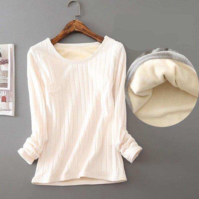 2020 Winter Warm T Shirt Thick Fleece Thermal Underwear Long Sleeve Stripe Cotton Tee Shirt Super Soft T-Shirt O neck Top Shirt 3