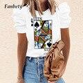 Блузка женская с принтом покера, повседневная элегантная рубашка свободного покроя, модный простой топ с коротким рукавом-фонариком, 2XL, на ...