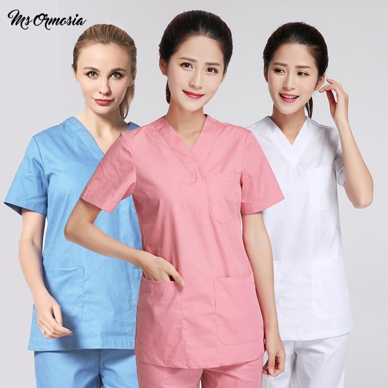 High Quality Medical Tops Pants Hospital Doctor Surgery Uniforms V-Neck Hospital Beauty Scrubs Medical Uniform Women Sets New