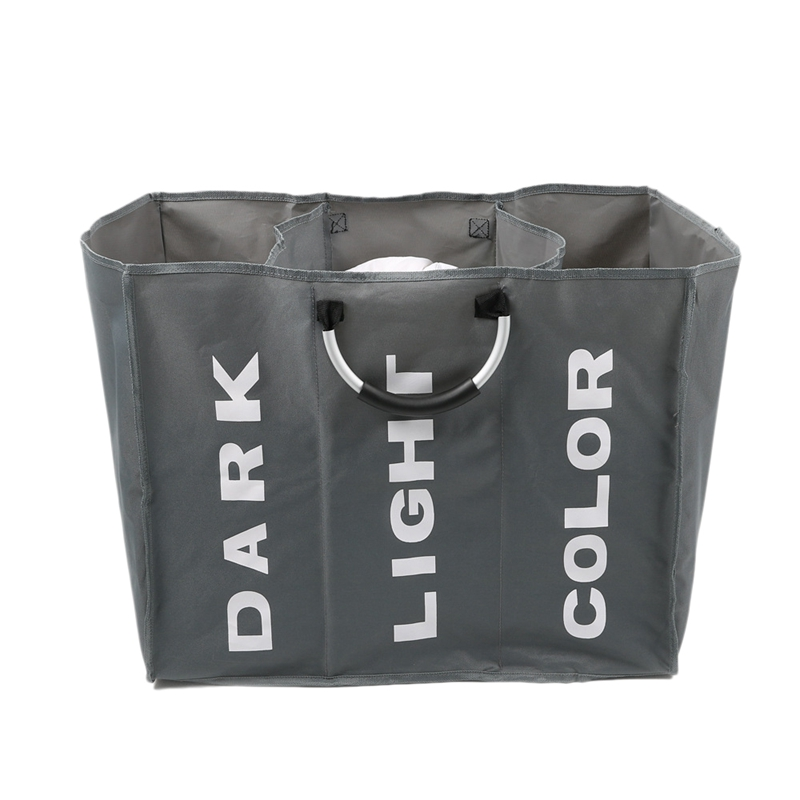 Foldable Dirty Laundry Basket Organizer Collapsible Three Grid Home Laundry Hamper Sorter Dirty Clothes Storage Basket Dark Grey