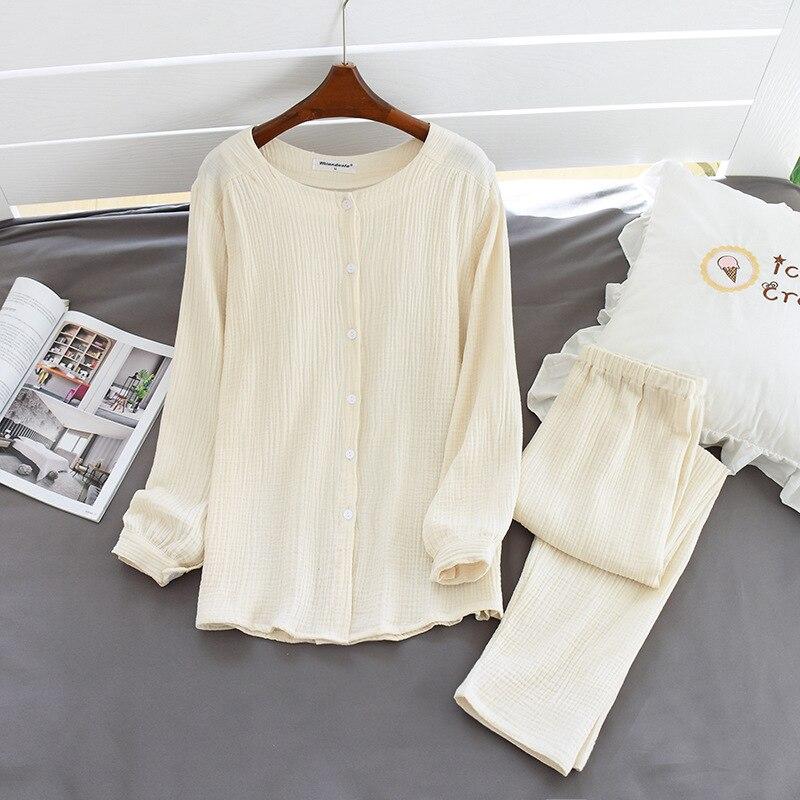 Image 3 - 2020 New Autumn Cotton Crepe Long Sleeved Trousers Pajamas for Women Sleepwear Pyjamas Women Plus Size Breathable Home ClothesPajama Sets   -
