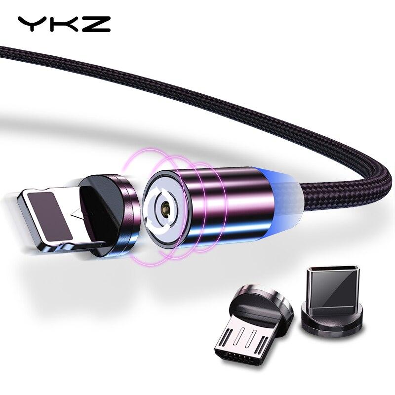 Магнитный кабель YKZ Micro USB кабель для iPhone samsung type C Магнитный заряд СВЕТОДИОДНЫЙ модуль панели управления USB C Магнитный телефонный кабель осве...