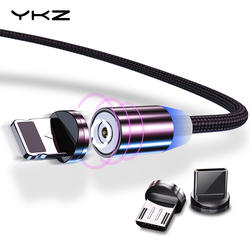 Магнитный кабель YKZ Micro USB кабель для iPhone samsung type C Магнитный заряд СВЕТОДИОДНЫЙ модуль панели управления USB C Магнитный телефонный кабель