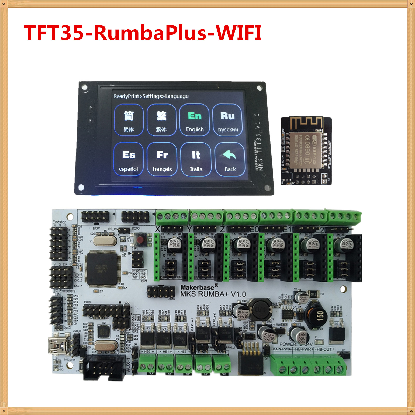 3d Printer Display MKS TFT35  Touch Screen + MKS RumbaPlus + MKS WIFI Monitor FDM Printer DIY Kit TFT 35 LCD Unit RUMBA Board