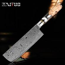 XITUO سكينة مطبخ للطهاة دمشق مسحوق الصلب حاد الساطور تقطيع Gyuto سكّين متعدّد الاستخدامات الطبخ أداة شفافة الراتنج مقبض